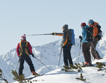 Backcountry Skiers Communicating