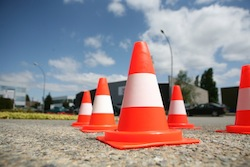 traffic cones used for driver training