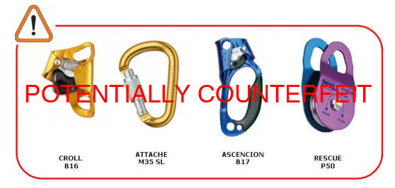 Potentially Counterfeit Petzl Products Image